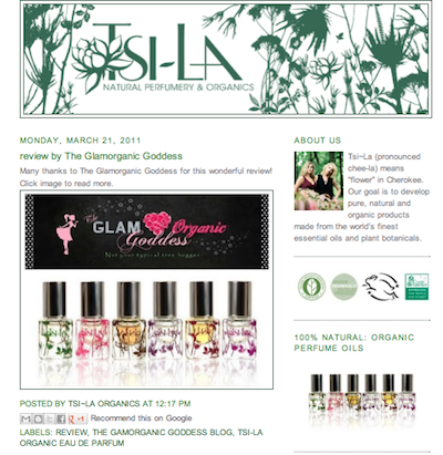 Tsi-la Organic Natural USDA Perfume review Glamorganic Goddess