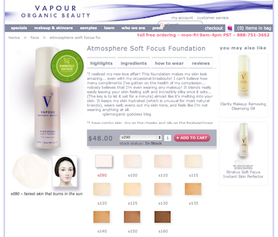 Vapour Organic Beauty Sift Focus Natural Foundation Review Glamorganic Goddess